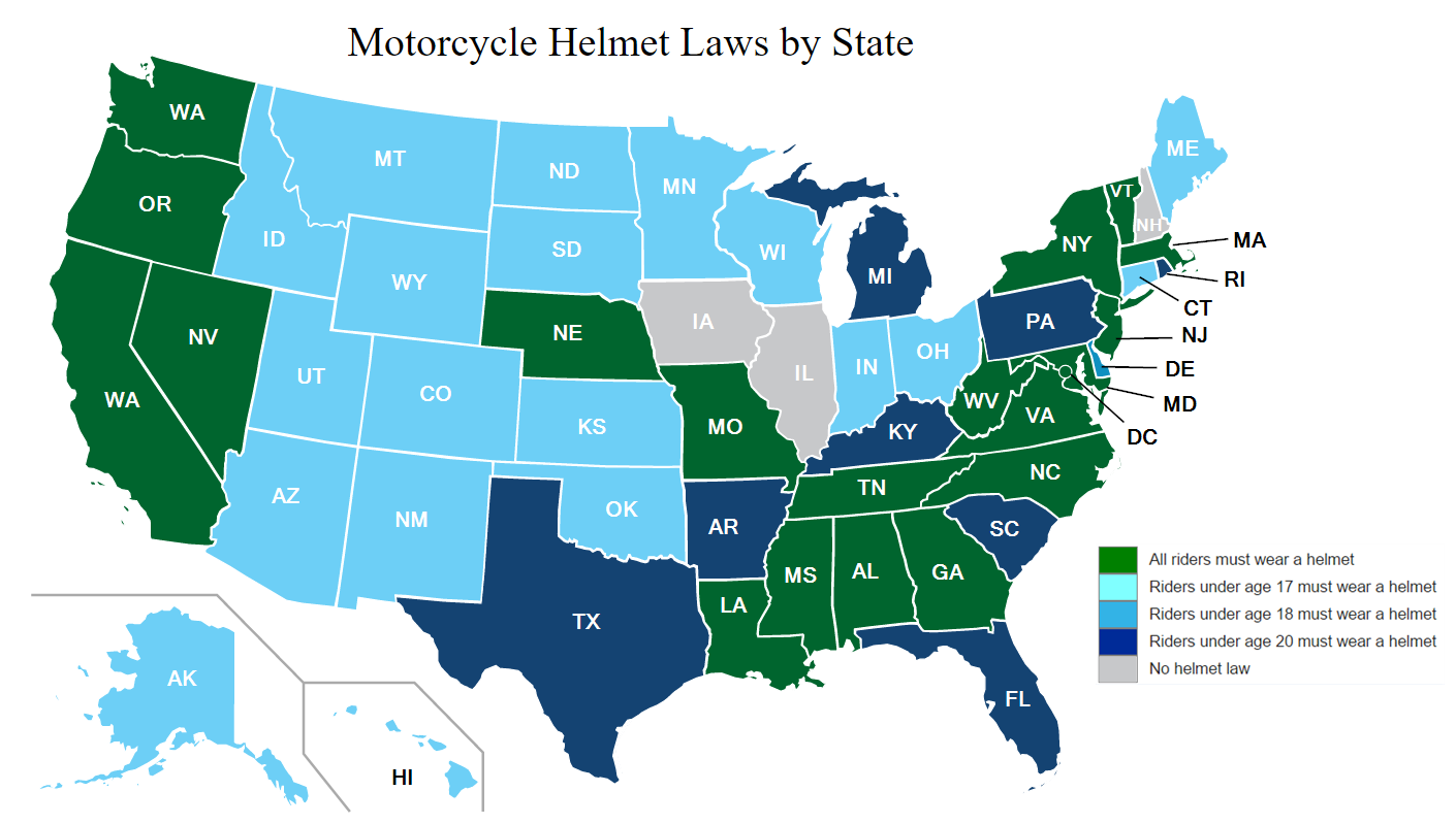 Helmet Laws: What You Should Know By State - Biker Digital